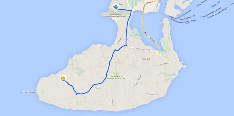 Google maps Denpasar Uluwatu