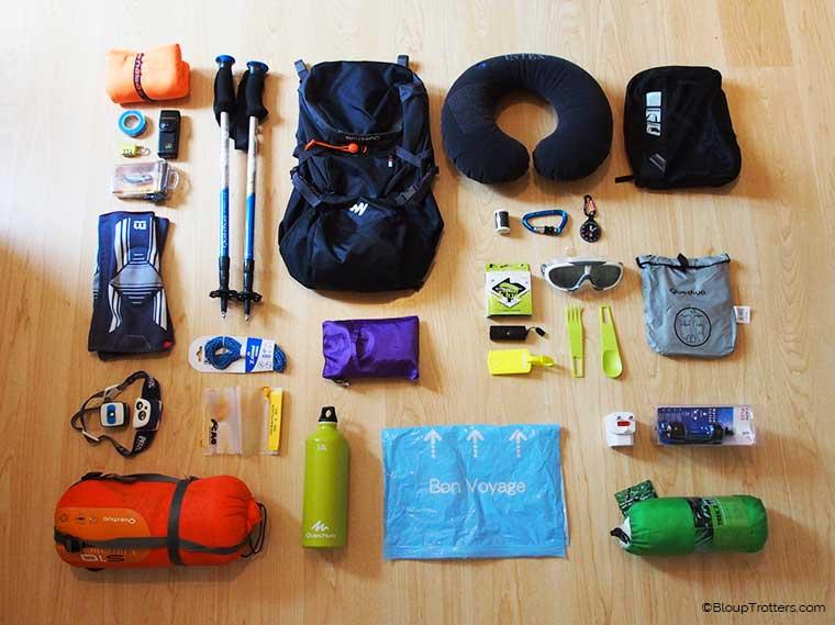 Équipements indispensables sac à dos Tour du monde
