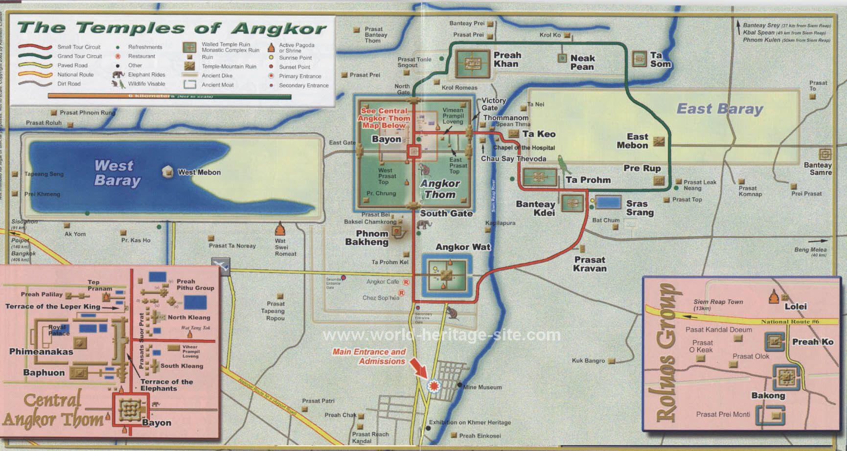 Carte des temples d'Angkor à emmener partout